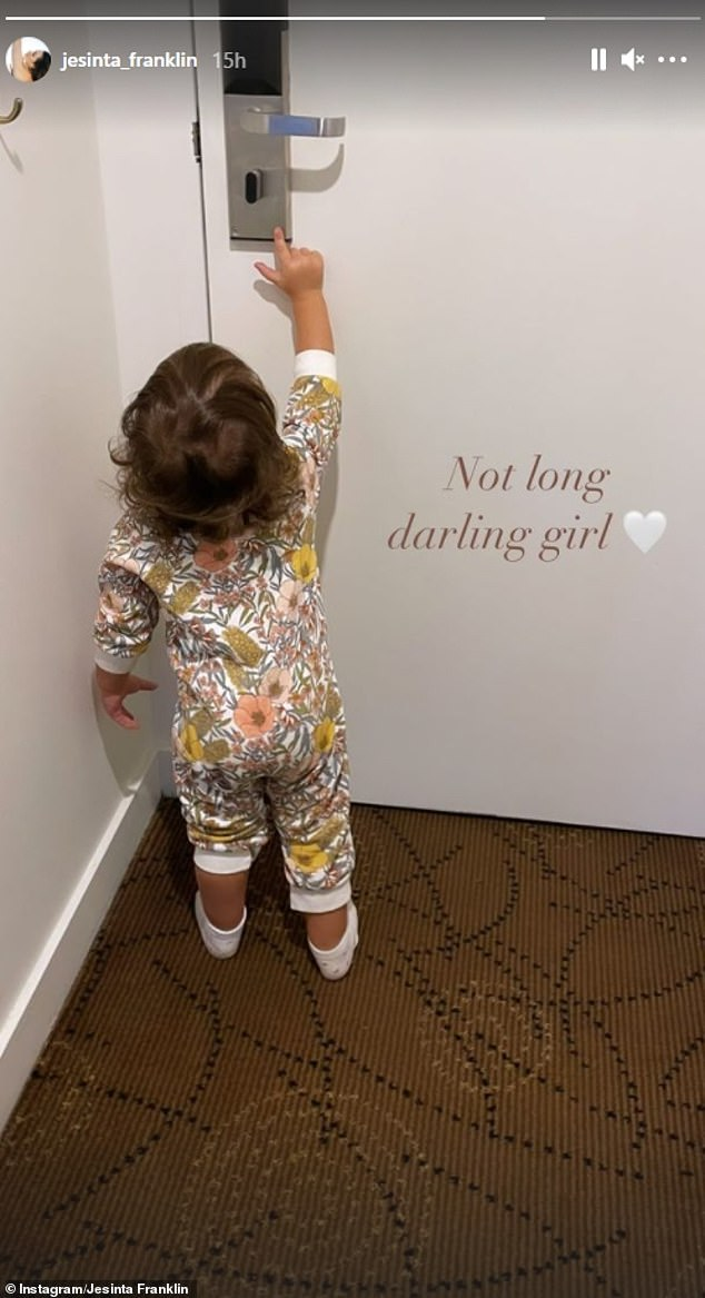 Freedom: On Monday night, she shared a photo of her baby girl reaching the hotel door and wrote: