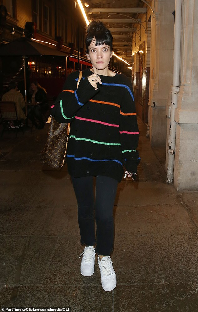 Principal Lady: Lily Allen cut a relaxed figure as she left the Noel Coward Theater in London after the opening night of the 2:22 A Ghost Story show alongside her co-star Julia Chan, 38
