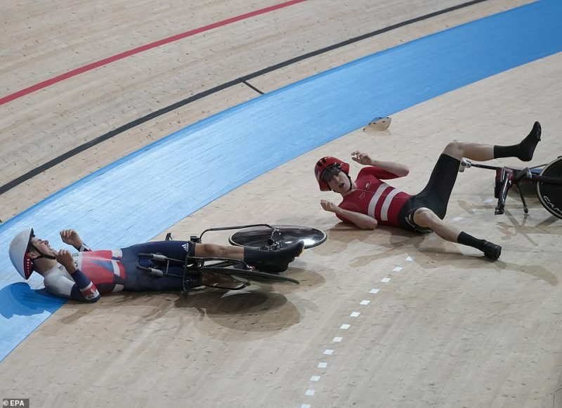 Madsen (right), who wasn't looking where he was going, crashed into the back of Tanfield, sending both riders sprawling