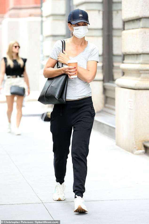 Out and about:Katie Holmes kept it casual when she was spotted making a coffee run in New York City on Tuesday