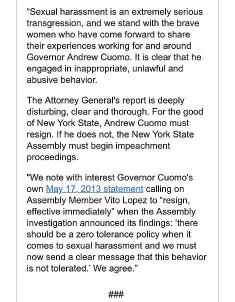 Twelve New York representatives, including Alexandria Ocasio-Cortez, called on Cuomo to resign