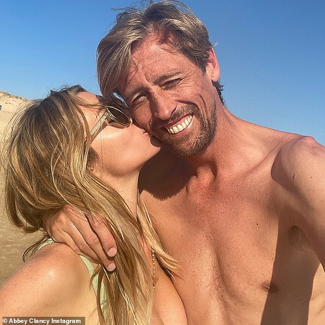 Cute couple: Abbey undoubtedly spent part of her vacation giving her husband Peter a few dance lessons after it was reported that the bosses of Strictly Come Dancing had approached him for the upcoming series