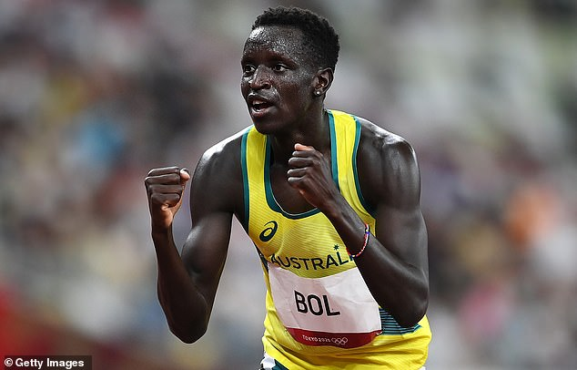 Australian track star Peter Bol celebrates after making the men's 800m final at the Tokyo Olympics