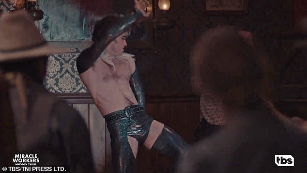 Hips: The Harry Potter actor, 32, who plays Reverend Ezekiel Brown in the TBS drama, went shirtless and also donned leather shorts and a feathered collar for the interpretation of the dance of