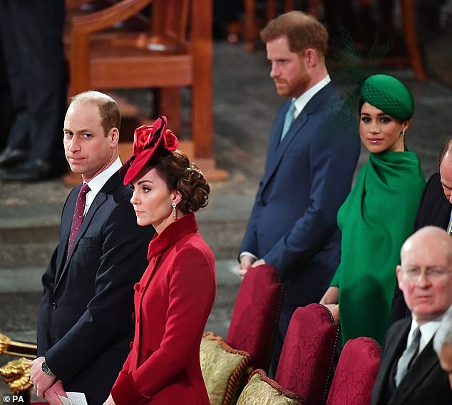 The photo has been interpreted by royal fans as a signal of the Cambridges' desire to repair their relationship with the Sussexes. Pictured, William, Kate, Harry and Meghan in March 2020