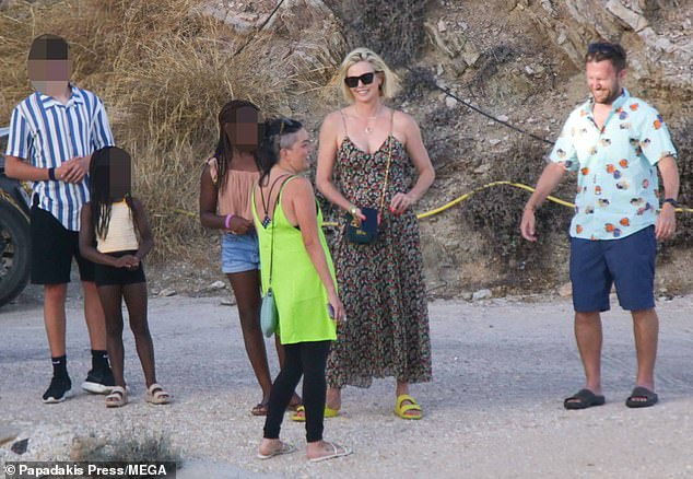 Family time: Charlize spent quality time with her mother Gerda Jacoba Aletta Maritz and daughters Jackson, nine, and August, five