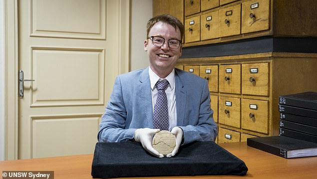 Lead author Dr Daniel Mansfield (pictured) described it as a 'significant object' due to the fact it includes an example of what is now known as 'Pythagorean triples', used to make accurate right angles, but 1,000 years before Pythagoras was alive