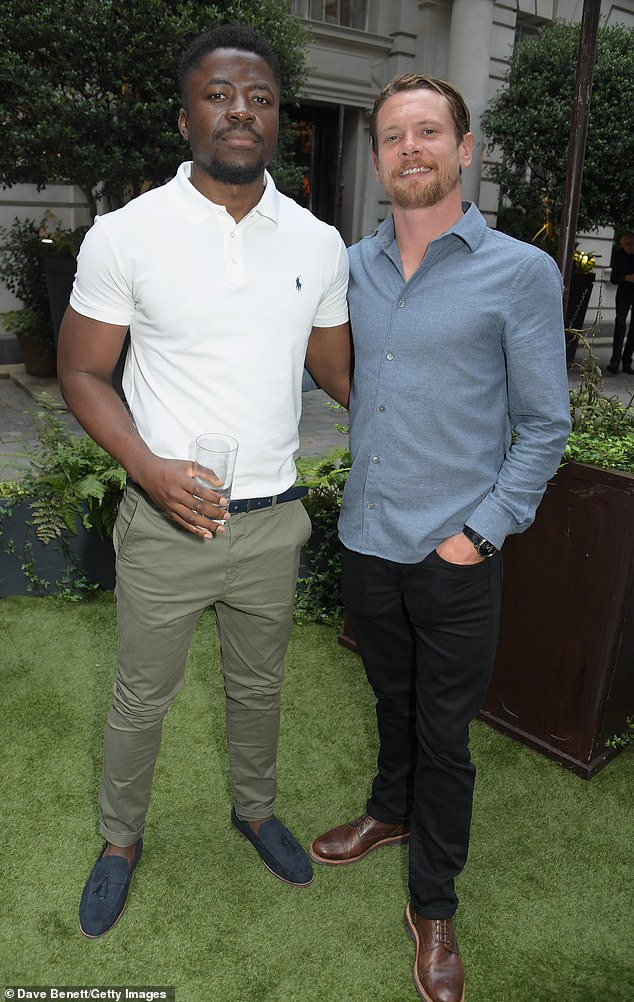 Acting up: Rafferty was joined at the bash by actors Merveille Lukeba and Jack O'Connell, both 31, who posed together on the night