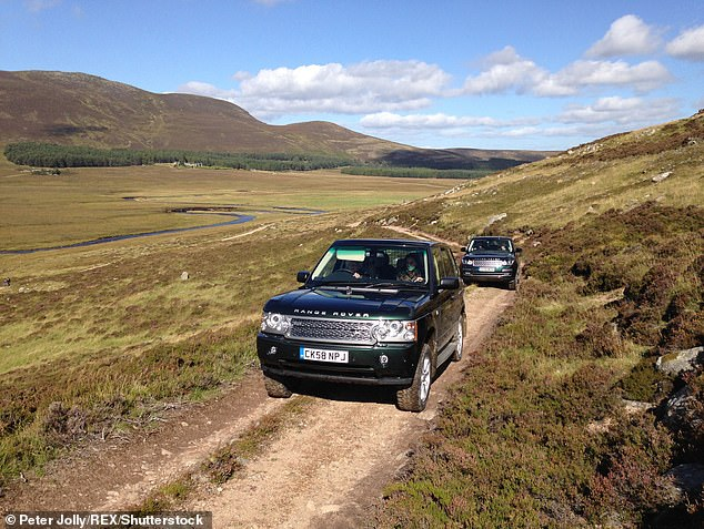 Luckily for royals who enjoy field sports, other game, including deer, is always plentiful.  Pictured: Queen Elizabeth II driving Kate Middleton on the Balmoral Estate in 2016