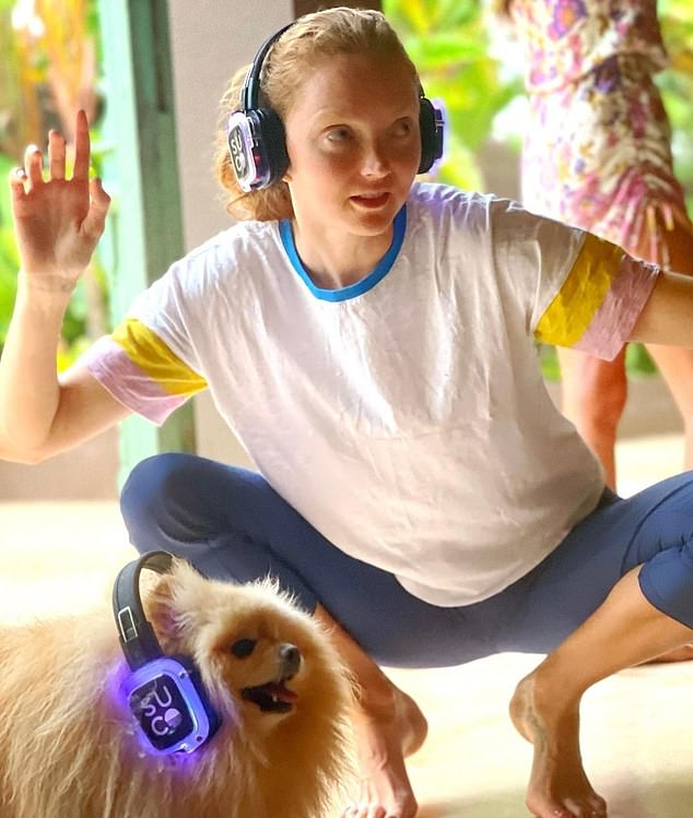 Lily Cole meditates with dogs in a new fashion called SUCO - short for Sunshine Collective - which uses music and