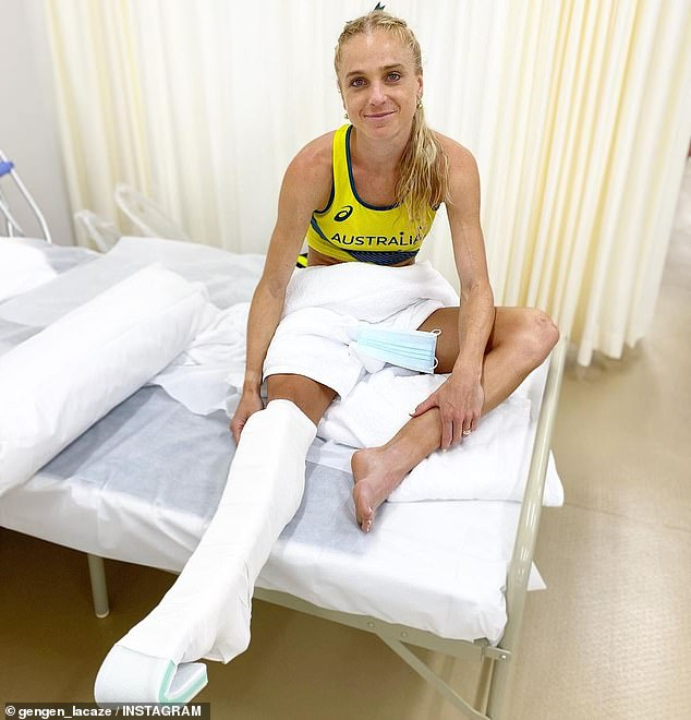 A heartbrokenGenevieve Gregson (pictured) spent the night in hospital after rupturing her Achilles tendon