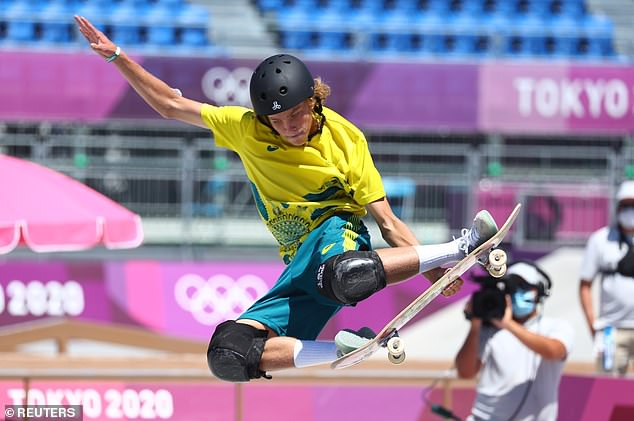 Aussie teen Keegan Palmer (pictured) has snared a gold medal at the Tokyo Olympics - in skateboarding