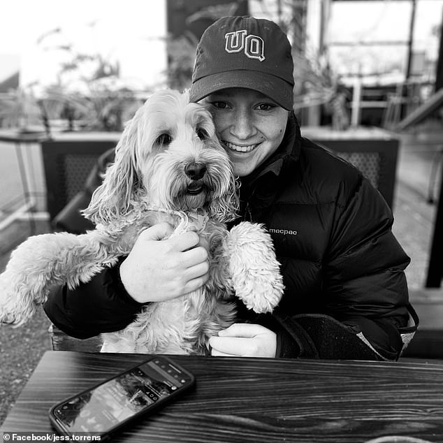 Jessica Torrens, pictured here with her pet dog, was concerned about the possible effects the staples might have had on a child