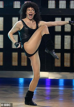 Dancing past: Robert is sure to feel the pressure too, after he squeezed into a shiny leotard to take the title of Let's Dance For Comic Relief in 2009, performing What A Feeling from '80s film Flashdance [pictured]