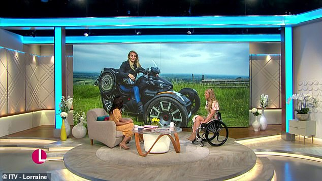 During the show Sophie was able to ride a specially-adapted three-wheel motorbike and says the experience was 'impossible to put into words'