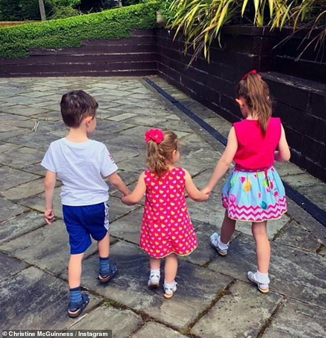 Family: The former Real Housewives Of Cheshire star, 33, spoke on This Morning on Thursday about her concerns about someone else looking after her twins Penelope and Leo, eight, and their four-year-old sister Felicity.