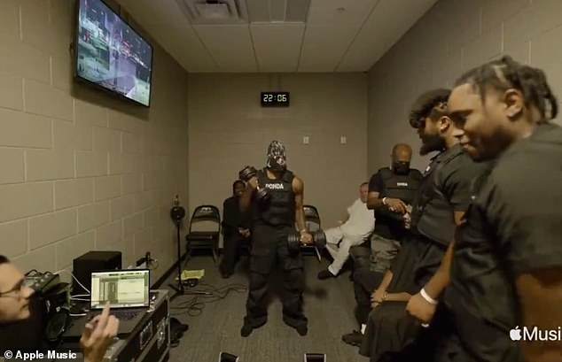 Iron: Fans around the world tapped into the livestream where the hitmaker, who only appeared in mask, was seen donning bizarre spiked costumes, lifting weights and chatting with his producer Mike Dean