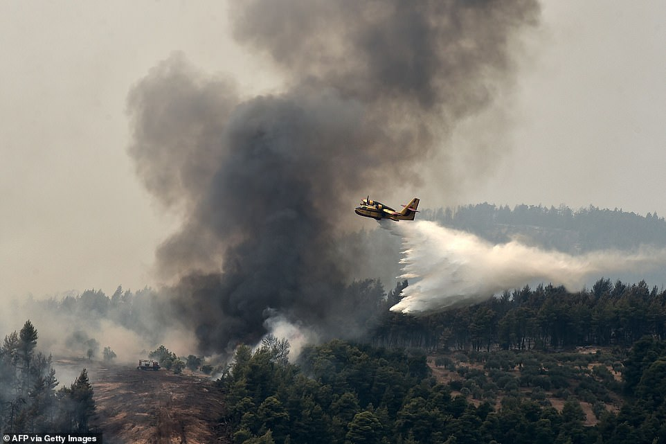 Awater-bombing aircraft pours water on a wildfirenear the village of Kechries in North Evia today
