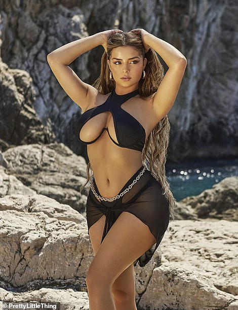 Wow Factor: Demi Rose was seen flaunting her enviable figure as she stripped down in a swimsuit, including a busty black bikini, for a steamy shoot with PrettyLittleThing