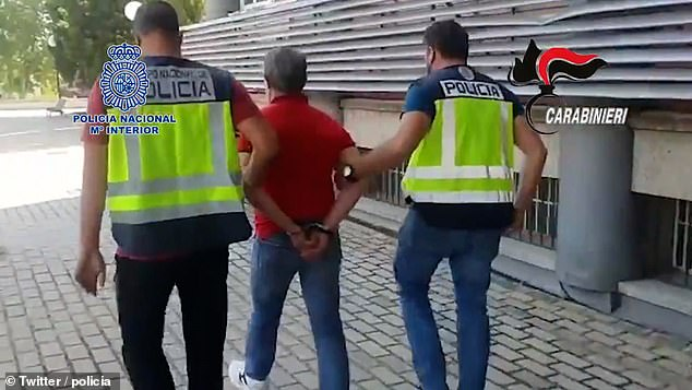 Paviglianiti was picked up on the streets of Madrid¿s working-class Cuatro Caminos neighbourhood in a joint operation carried out with Italian police, Spain¿s National Police said in a statement. Above,Paviglianiti's arrest