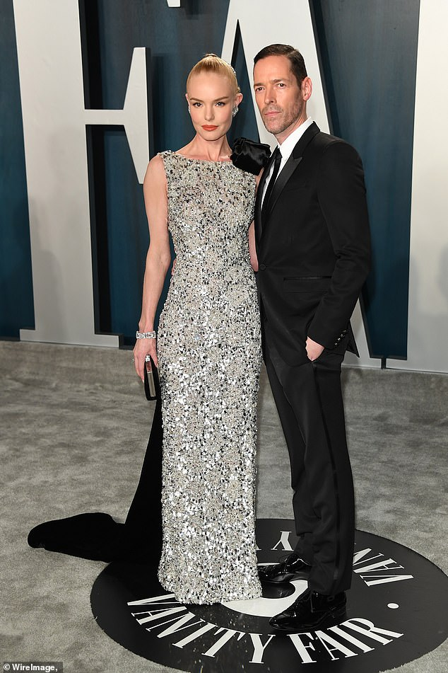Exes: Kate Bosworth announced her split from eight-year-old husband Michael Polish on Thursday via Instagram.  They are seen at the 2020 Vanity Fair Oscars party above