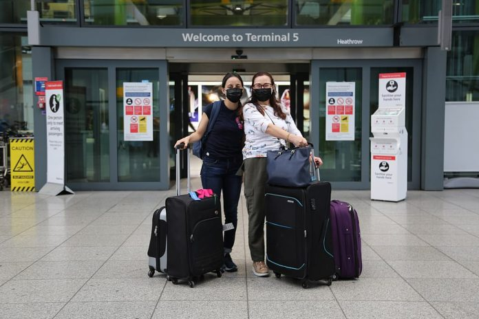 Sofia and Gabriella Martinez were among the many passengers to arrive at Terminal 5 at Heathrow today from Mexico