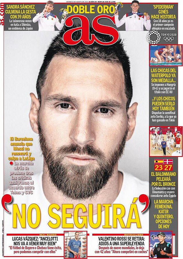 Both Barcelona and news outlet AS have put the blame on LaLiga - claiming they are the reason the club failed to renew Messi's contract