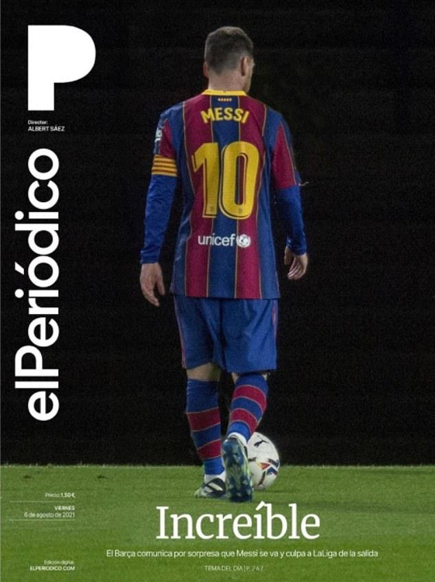 elPeriodico ran the headline: 'Incredible' before stating that Barca has announced his depature