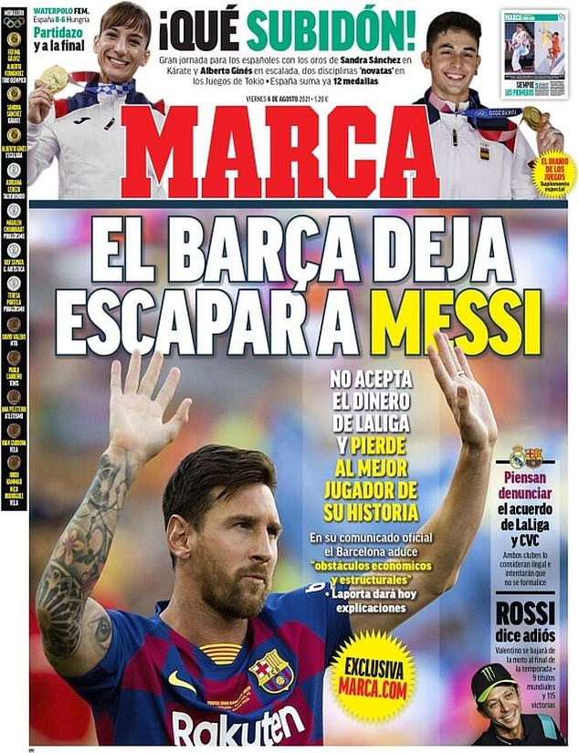 Marca claim Barca let Messi escape and that they have 'lost the best player in their history'