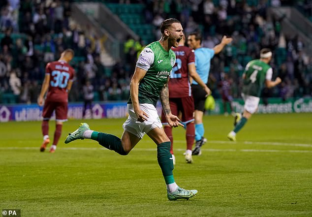 Martin Boyle roared in celebration having salvaged a draw for Hibernian at Easter Road
