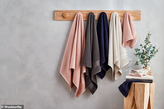 Those looking to brighten up their bathrooms can find organic bath towels, bath sheets, hand towels and face washers in colours including navy, charcoal, cream and blush with prices starting at just $12