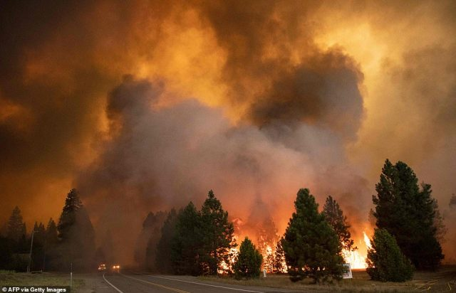 A huge cloud of smoke and ash is seen as the Dixie Fire rips through Greenville on Wednesday