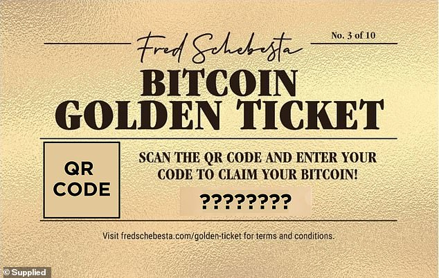 In his new book, 'Go Live! 10 Principles to Launch a Global Empire', Mr Schebesta is giving away ten golden tickets worth between $25 and $400 as a portion of Bitcoin. These shares of Bitcoin would go up in value if the cryptocurrency, limited to 21million units, went up in value