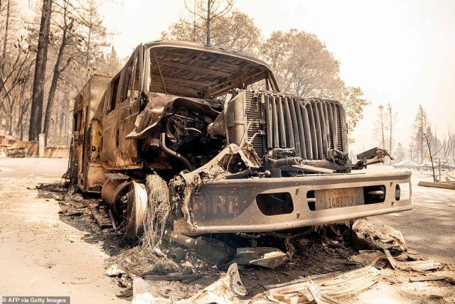 The fire truck was barely recognizable after being caught up in the Dixie Fire in Greenville