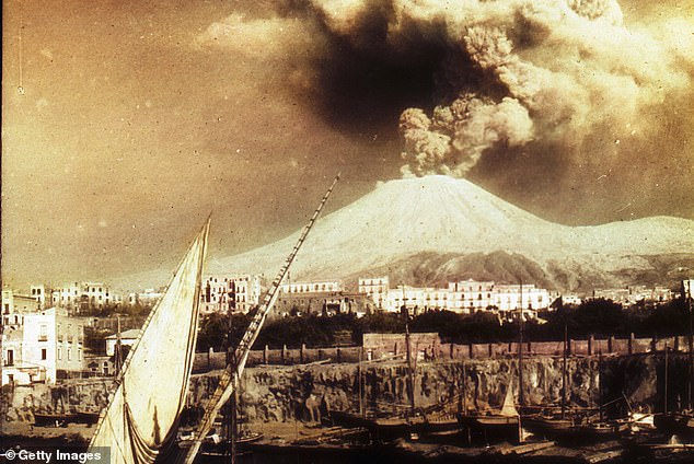 In the Mediterranean pinch point, for example, even small eruptions at Vesuvius (pictured) or Santorini could smash submerged cable networks, leading to breakdowns in telecommunication signals, or even seal off the Suez Canal
