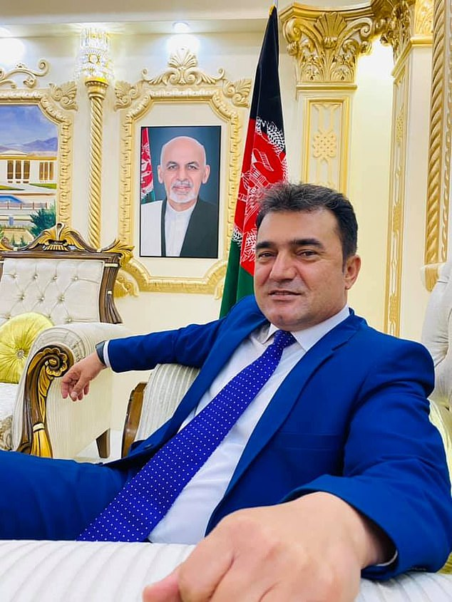 'Menapal was a young man who stood like a mountain in the face of enemy propaganda, and who was always a major supporter of the (Afghan) regime,' said Mirwais Stanikzai, a spokesperson of the interior ministry. Above, Khan smiling in front of a photo of President Ashraf Ghani