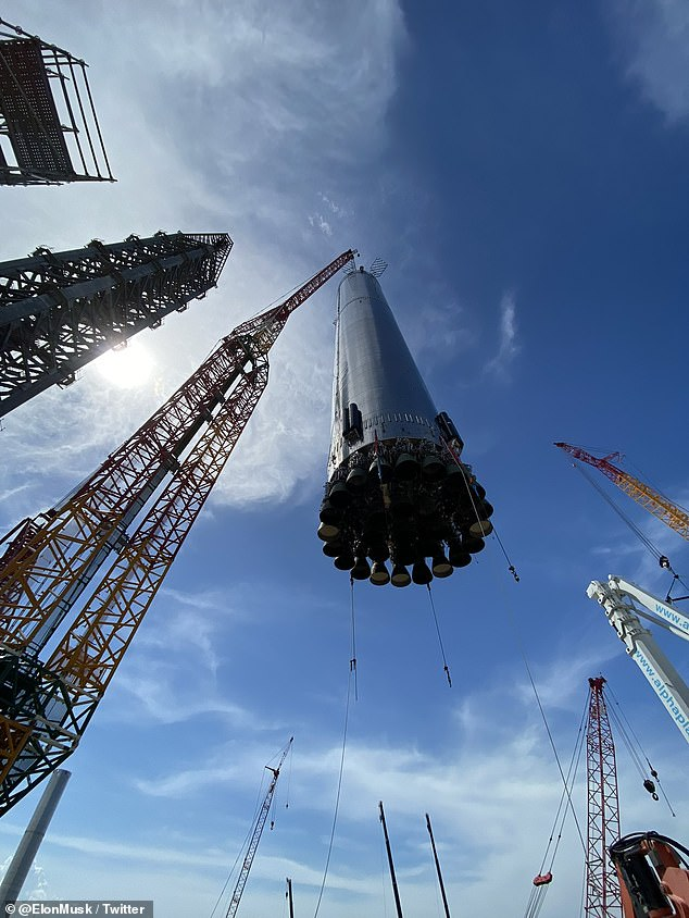 Super Heavy is the first stage of SpaceX's two-stage, fully reusable Starship system, which is will be used to send people and cargo to Mars and other distant planets - and the upper stage is a 165-foot-tall Starship