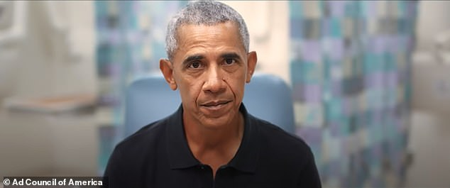 Barack Obama (pictured) joined former presidents George W. Bush and Bill Clinton in 'It's Up To You', an ad encouraging Americans to get jabbed