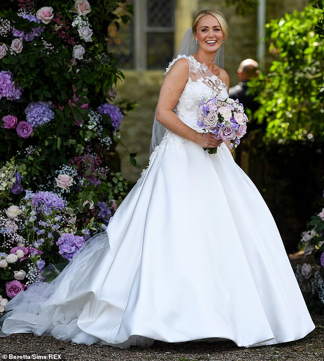 Wow:Anne-Marie looked stunning in her gorgeous wedding gown as she arrived for her nuptials to Ant earlier in the day