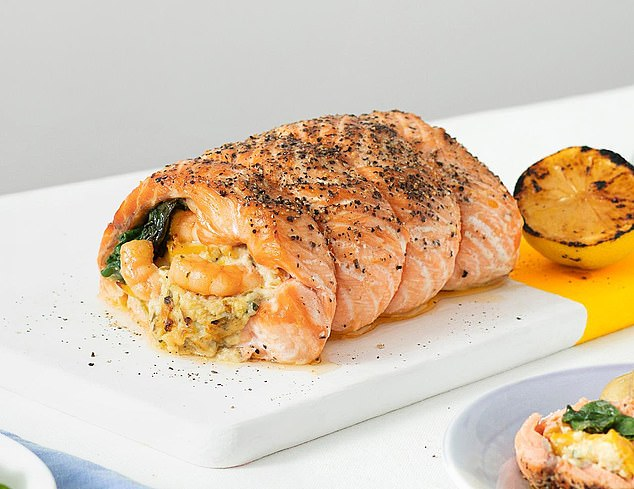 M&S launched its three-fish roast two years ago. It comprises a flaky salmon fillet, succulent king prawns and smoked haddock, and is stuffed with a rich cheddar cheese stuffing