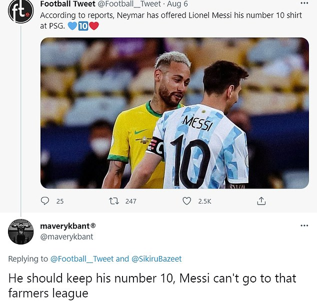 Some fans believe Messi is too good for Ligue 1 and will be sad to see him move to PSG