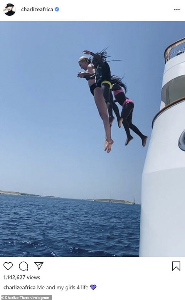 Family vacation: In August, she took the plunge off the side of the yacht with her daughters sweetly