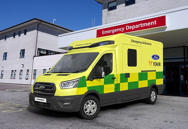 The NHS is working with Ford to convert their Transit vans into electric ambulances. Pictured: Ford's 3.5-tonne ambulance, developed with Venari Group to meet UK national specifications