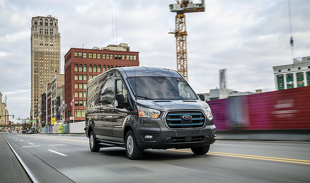 A 2018 NHS review found it typically costs a fifth less to convert a van into an ambulance than making the traditional ¿box-style¿ design. Pictured: An electric Ford Transit van (stock image)