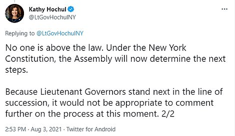 Hochul - who grew up in upstate New York, the daughter of a steelworker father, has served him loyally but this week, as the Attorney General found him guilty of sexually harassing at least 11 women, she turned on him.