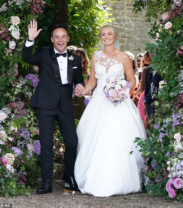 The day before:Ant and his former PA Anne-Marie tied the knot at Heckfield in Hampshire on Saturday in a lavish, star-studded ceremony