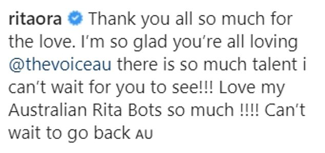 Rita wrote: 'Thank you all so much for the love. I'm so glad you're all loving @thevoiceau there is so much talent i can't wait for you to see!'