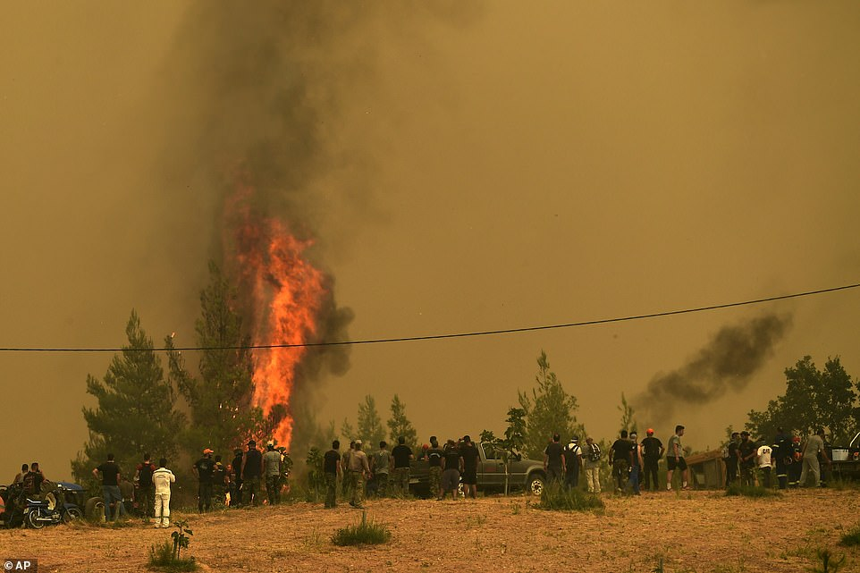 People watch the flames burning trees during a wildfire in Avgaria village on Evia island
