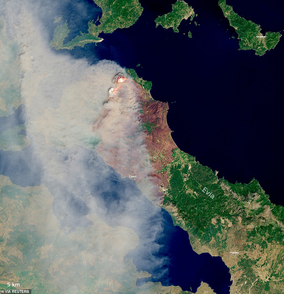 Satellite images have revealed the full extent of the damage, with scorch marks stretching the width of the island as flames raced coast-to-coast through tinder-dry woodland