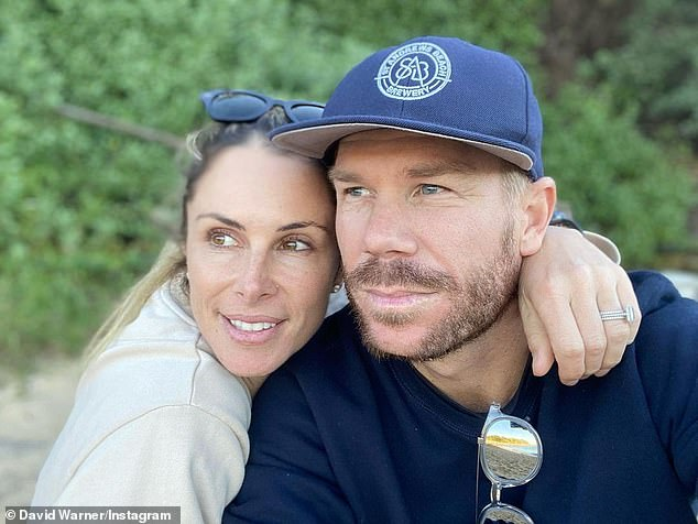 Loving: David Warner shared a sweet tribute to his wife and best friend Candice on Monday, alongside a loved-up image of the pair